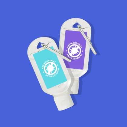 70ml Antibacterial Hand Sanitiser on a Carabiner Clip