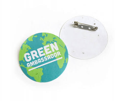 branded seeded paper button badge