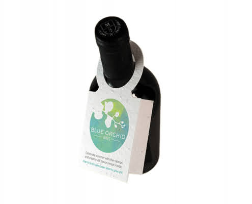 branded seeded paper wine bottle tags